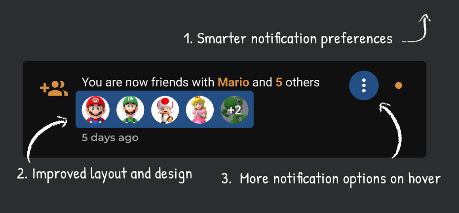 An example of the new notifications system, with smarter preferences, an improved layout and design, and more notification options in the menu